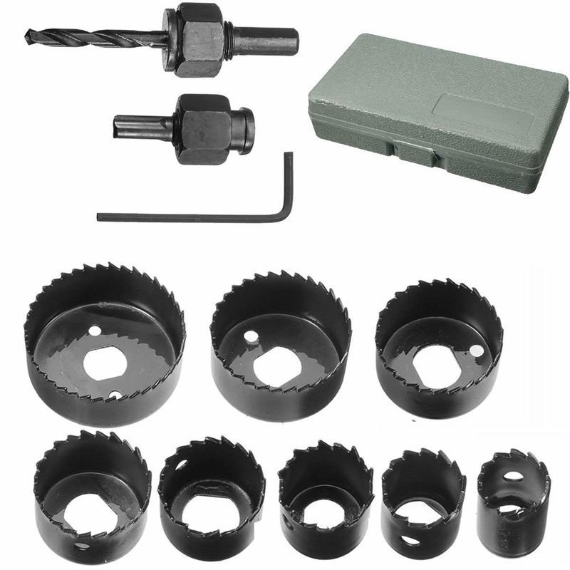 "11 PCS Wood Hole Saw Bits 3/4'' - 2 1/2 ""Inch , Wood Hole Cutter Set Black Painting"